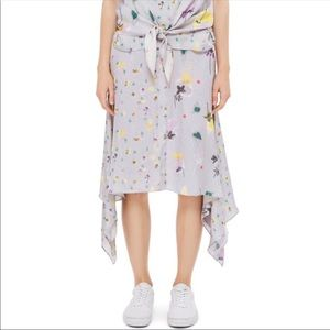Topshop floral mix handkerchief hem midi skirt